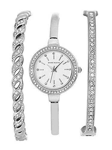 アンクライン 腕時計 レディース AK/2047SVST Anne Klein Women's Diamond Accent White Bangle Watch Box Set AK/2047SVSTアンクライン 腕時計 レディース AK/2047SVST