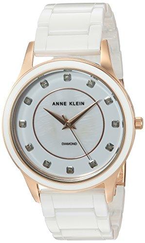 アンクライン 腕時計 レディース AK/2392RGWT Anne Klein Women's AK/2392RGWT Diamond-Accented Rose Gold-Tone and White Ceramic Bracelet Watchアンクライン 腕時計 レディース AK/2392RGWT