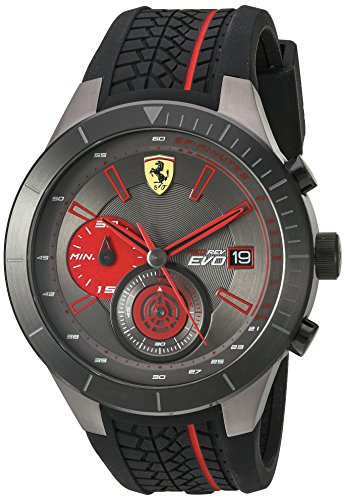 フェラーリ 腕時計 メンズ 830341 Ferrari Men's Quartz Stainless Steel and Silicone Watch, Color:Black (Model: 830341)フェラーリ 腕時計 メンズ 830341