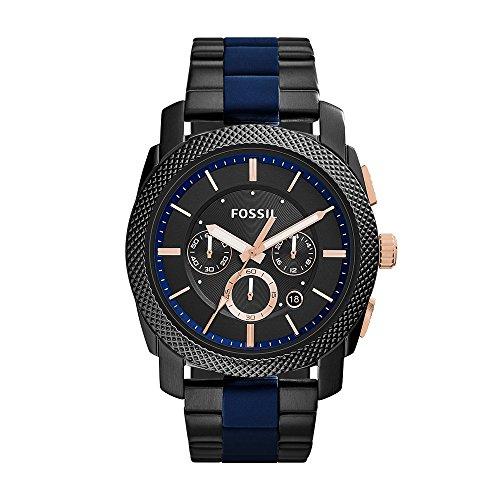フォッシル 腕時計 メンズ FS5164 Fossil Men's Machine Quartz Two-Tone Stainless Steel and Silicone Chronograph Watch, Color: Black, Blue (Model: FS5164)フォッシル 腕時計 メンズ FS5164