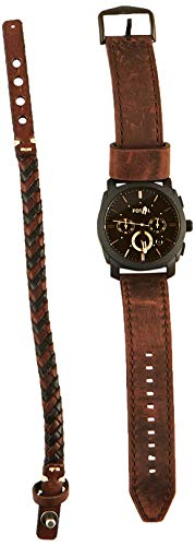 フォッシル 腕時計 メンズ FS5251SET Fossil Mens FS5251SET Machine Chronograph Dark Brown Leather Watch and Bracelet Box Setフォッシル 腕時計 メンズ FS5251SET