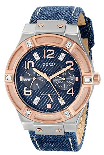 "ゲス GUESS 腕時計 レディース U0289L1 【送料無料】GUESS Women""s U0289L1 Silver and Rose Gold-Tone Multi-Function Watch with Denim Strapゲス GUESS 腕時計 レディース U0289L1"