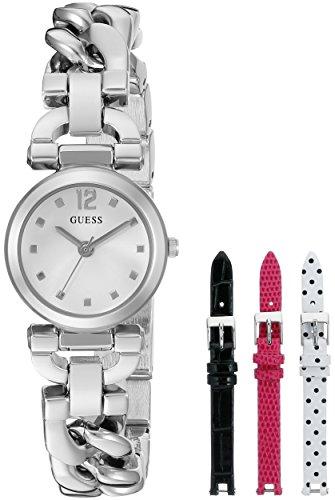 腕時計 ゲス GUESS レディース U0712L1 【送料無料】GUESS Women's U0712L1 Feminine Silver-Tone Watch Set with Metal Bracelet and 3 Interchangeable Leather Straps Inside a Bonus Travel Case腕時計 ゲス GUESS レディース U0712L1