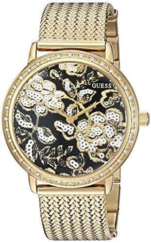 ゲス GUESS 腕時計 レディース U0822L2 GUESS Women's U0822L2 Trendy Gold-Tone Watch with Black Dial , Crystal-Accented Bezel and Mesh G-Link Bandゲス GUESS 腕時計 レディース U0822L2
