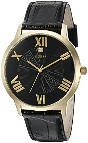 ゲス GUESS 腕時計 メンズ U0794G1 GUESS Men's U0794G1 Dressy Gold-Tone Watch Plain Black Dial and Genuine Leather Strap Buckleゲス GUESS 腕時計 メンズ U0794G1
