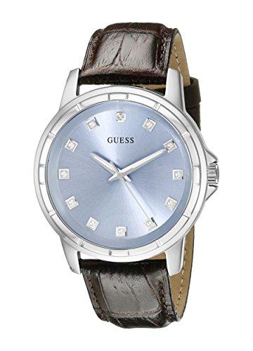 ゲス GUESS 腕時計 メンズ U0519G2 【送料無料】GUESS Men's U0519G2 Classic Stainless Steel Watch with Ice Blue Diamond Dial & Brown Croco-Like Genuine Leather Strapゲス GUESS 腕時計 メンズ U0519G2