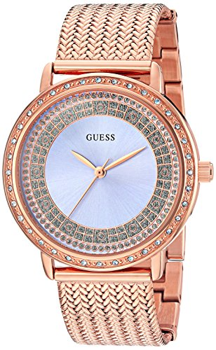 ゲス GUESS 腕時計 レディース U0836L1 【送料無料】GUESS Women's U0836L1 Dressy Rose Gold-Tone Watch with Blue Dial , Crystal-Accented Bezel and Mesh G-Link Bandゲス GUESS 腕時計 レディース U0836L1