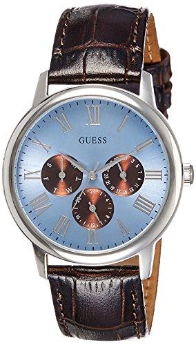 ゲス GUESS 腕時計 メンズ W0496G2 Guess Wafer Light Blue Dial Brown Leather Strap Gents Watch W0496G2ゲス GUESS 腕時計 メンズ W0496G2