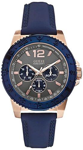 ゲス GUESS 腕時計 メンズ Spark Blue & Rose Gold 【送料無料】Guess W0242G3 Spark Blue Leather Strap Rose Gold Case Men's Watchゲス GUESS 腕時計 メンズ Spark Blue & Rose Gold