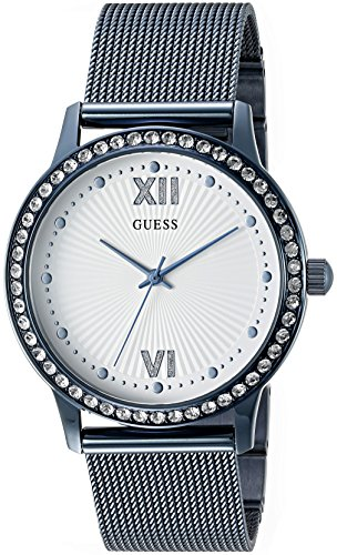 ゲス GUESS 腕時計 レディース U0766L4 【送料無料】GUESS Women's U0766L4 Dressy Blue Watch with White Dial , Crystal-Accented Bezel and Mesh G-Link Bandゲス GUESS 腕時計 レディース U0766L4