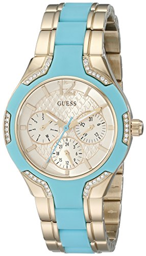 腕時計 ゲス GUESS レディース U0556L6 【送料無料】GUESS Women's U0556L6 Stainless Steel Gold-Tone & Turquoise Multi-Function Watch with Day, Date, 24 Hour Int'l Time & Genuine Crystals腕時計 ゲス GUESS レディース U0556L6