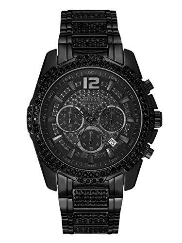 ゲス GUESS 腕時計 メンズ U0291G3 【送料無料】GUESS Men's Chronograph Crystal Accent Black Ion-Plated Bracelet Watch 47mm U0291G3ゲス GUESS 腕時計 メンズ U0291G3