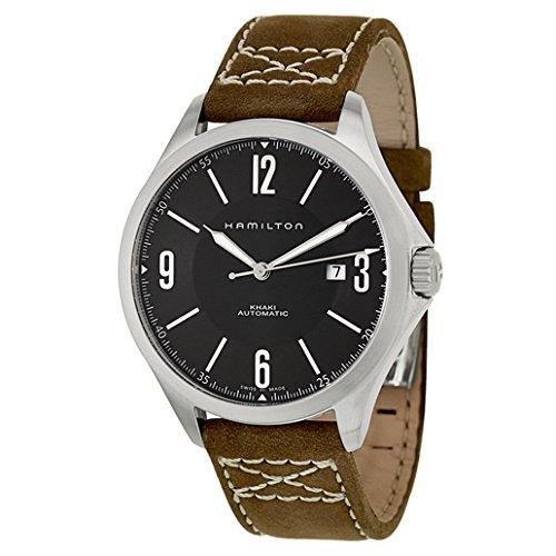 腕時計 ハミルトン メンズ H76665835 【送料無料】Hamilton Khaki Aviation Black Dial Leather Strap Men's Watch H76665835腕時計 ハミルトン メンズ H76665835