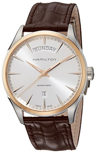 ハミルトン 腕時計 メンズ H42525551 【送料無料】Hamilton Men's Jazzmaster Gold Swiss-Automatic Watch with Leather Calfskin Strap, Brown, 22 (Model: H42525551)ハミルトン 腕時計 メンズ H42525551