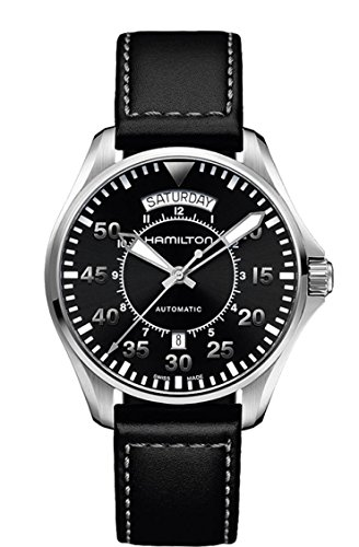 ハミルトン 腕時計 メンズ H64615735 【送料無料】Hamilton Men's 'Khaki Aviation' Swiss Automatic Stainless Steel and Black Leather Casual Watch (Model: H64615735)ハミルトン 腕時計 メンズ H64615735
