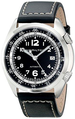 ハミルトン 腕時計 メンズ H76455733 【送料無料】Hamilton Men's H76455733 Khaki Aviation Stainless Steel Watch with Black Leather Bandハミルトン 腕時計 メンズ H76455733
