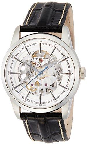 ハミルトン 腕時計 メンズ H40655751 Hamilton Men's Timeless Classic Stainless Steel Swiss-Automatic Watch with Leather Calfskin Strap, Black, 22 (Model: H40655751ハミルトン 腕時計 メンズ H40655751