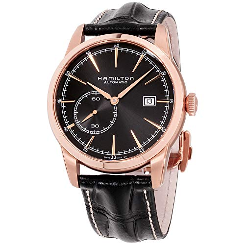 ハミルトン 腕時計 メンズ H40545731 【送料無料】Hamilton Men's Timeless Classic Gold Swiss-Automatic Watch with Leather Calfskin Strap, Black, 22 (Model: H40545731)ハミルトン 腕時計 メンズ H40545731