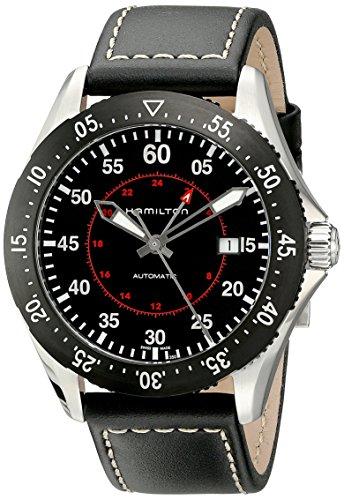 ハミルトン 腕時計 メンズ H76755735 【送料無料】Hamilton Men's H76755735 Khaki Aviation Stainless Steel Automatic Watch with Black Leather Bandハミルトン 腕時計 メンズ H76755735