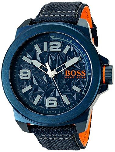 ヒューゴボス 高級腕時計 メンズ 1513353 BOSS Orange Men's 'NEW YORK' Quartz Resin and Canvas Casual Watch, Color:Blue (Model: 1513353)ヒューゴボス 高級腕時計 メンズ 1513353