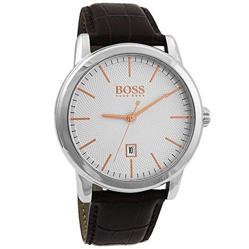 ヒューゴボス 高級腕時計 メンズ 1513399 Hugo Boss Classic 1 Silver Dial Brown Leather Strap Quartz Men's Watch 1513399ヒューゴボス 高級腕時計 メンズ 1513399