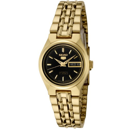 セイコー 腕時計 レディース SYMA06K Seiko Women's SYMA06K Seiko 5 Automatic Black Dial Gold-Tone Stainless Steel Watchセイコー 腕時計 レディース SYMA06K