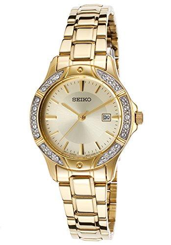 セイコー 腕時計 レディース SUR874 Seiko Ladies SUR874 Gold-Tone Bracelet Crystal Bezel Watchセイコー 腕時計 レディース SUR874