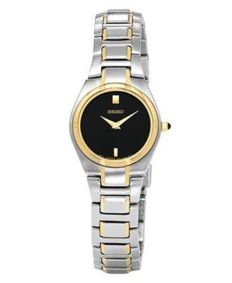 セイコー 腕時計 レディース SUJE34 Seiko Two-Tone Bracelet Black Dial Women's Watch #SUJE34セイコー 腕時計 レディース SUJE34