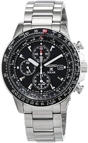 セイコー 腕時計 メンズ SSC009 【送料無料】Seiko Men's SSC009 Solar Chronograph Silver Dial Flight Watchセイコー 腕時計 メンズ SSC009