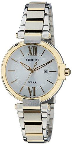 セイコー 腕時計 レディース Solar 【送料無料】Seiko Women's Quartz Watch with Silver Dial Analogue Display and Gold Stainless Steel Plated SUT154P1セイコー 腕時計 レディース Solar
