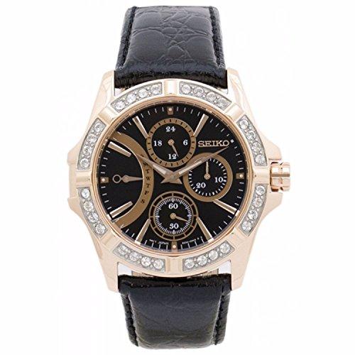 セイコー 腕時計 レディース SRLZ90P1 Seiko Lord Rose Gold Case Leather Band Fixed Swarovski Crystal Bezel Ladies Watch SRLZ90P1セイコー 腕時計 レディース SRLZ90P1