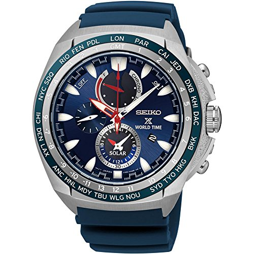 セイコー 腕時計 メンズ SSC489 【送料無料】New Seiko SSC489 World Time Solar Chronograph Blue Rubber Strap Men's Watchセイコー 腕時計 メンズ SSC489