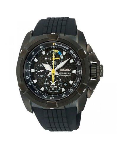 腕時計 セイコー メンズ Velatura 【送料無料】Seiko SNAE17 Mens Velatura Alarm Chronograph Black Dial Rubber Strap腕時計 セイコー メンズ Velatura
