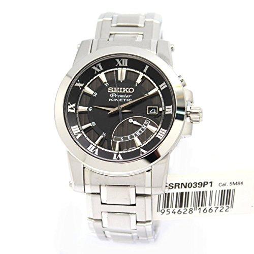 セイコー 腕時計 メンズ Seiko SRN039P1 【送料無料】Seiko SRN039P1 Premier Kinetic Black Dial Stainless Steel Men's Watchセイコー 腕時計 メンズ Seiko SRN039P1