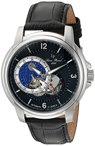 ルシアンピカール 腕時計 メンズ LP-15156-01 Lucien Piccard Men's 'Nebula' Stainless Steel and Leather Automatic Watch, Color:Black (Model: LP-15156-01)ルシアンピカール 腕時計 メンズ LP-15156-01
