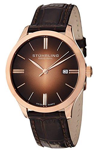 ストゥーリングオリジナル 腕時計 メンズ 490.3345K14 【送料無料】Stuhrling Original Men's 490.3345K14 Cuvette II Analog Swiss Quartz Brown Leather Watchストゥーリングオリジナル 腕時計 メンズ 490.3345K14
