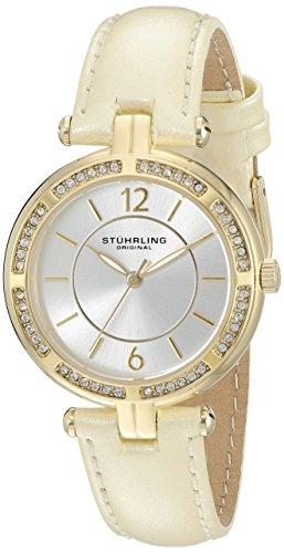 ストゥーリングオリジナル 腕時計 レディース 550.04 Stuhrling Original Women's 550.04 Vogue Quartz Crystal Bezel Beige Leather Strap Watchストゥーリングオリジナル 腕時計 レディース 550.04