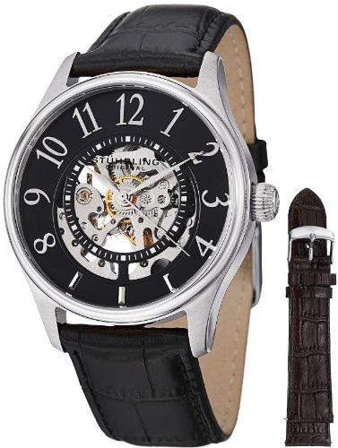 ストゥーリングオリジナル 腕時計 メンズ 746L.SET.02 Stuhrling Original Men's 746L.SET.02 Delphi Solaris Automatic Skeleton Black Watch with Additional Strapストゥーリングオリジナル 腕時計 メンズ 746L.SET.02