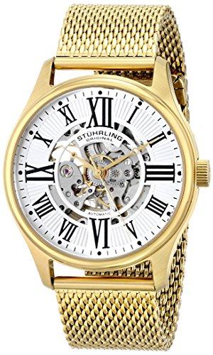 腕時計 ストゥーリングオリジナル メンズ 747M.04 【送料無料】Stuhrling Original Men's 747M.04 Classic Atrium Elite 23k Yellow Gold-Layered Watch with Mesh Bracelet腕時計 ストゥーリングオリジナル メンズ 747M.04