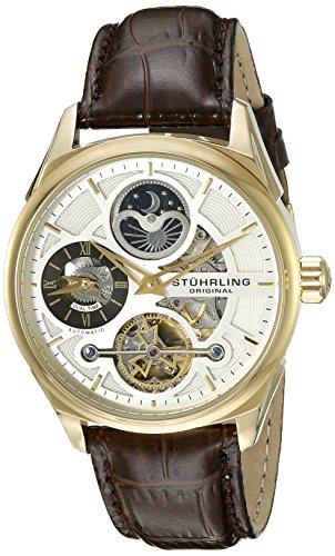 ストゥーリングオリジナル 腕時計 メンズ 657.03 【送料無料】Stuhrling Original Men's 657.03 Delphi Automatic Self Wind Skeleton AM/PM Dual Time Brown Leather Strap Watchストゥーリングオリジナル 腕時計 メンズ 657.03