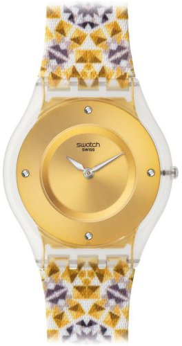 スウォッチ 腕時計 レディース SFW107 【送料無料】Swatch Skin Seminato Gold Dial Leather Strap Ladies Watch SFW107スウォッチ 腕時計 レディース SFW107