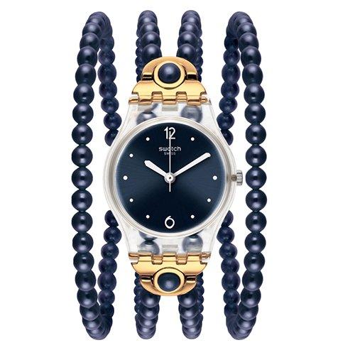 083433a9bfc0 スウォッチ 腕時計 レディース LK352 Swatch LK352 Night Prohibition Dark Blue White Gold  Plastic Band Women Watch NEWスウォッチ 腕時計 レディース LK352 ...