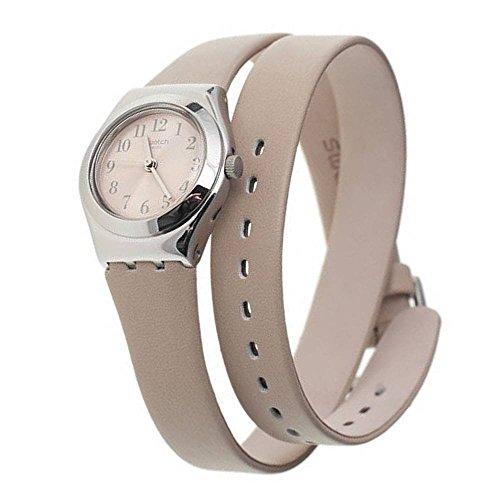 スウォッチ 腕時計 レディース CUEPLI Swatch Cuepli Beige Dial Stainless Steel Leather Strap Ladies Watch YSS280スウォッチ 腕時計 レディース CUEPLI