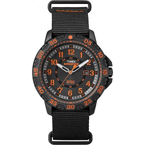 腕時計 タイメックス メンズ TW4B05200 【送料無料】Timex Men's TW4B05200 Expedition Gallatin Black/Orange Nylon Slip-Thru Strap Watch腕時計 タイメックス メンズ TW4B05200