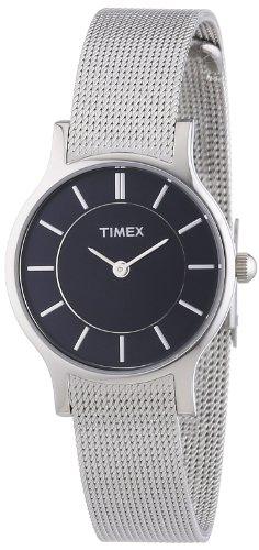 腕時計 タイメックス レディース T2P166PF 【送料無料】Timex T2P166 Ladies Black Silver Premium Slim Watch腕時計 タイメックス レディース T2P166PF