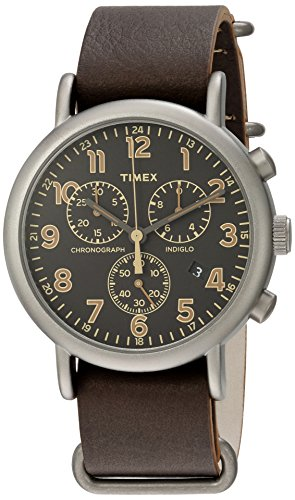 タイメックス 腕時計 メンズ TW2P85400 Timex Men's TW2P85400 Weekender Chrono Titanium-Tone/Dark Brown Leather Slip-Thru Strap Watchタイメックス 腕時計 メンズ TW2P85400