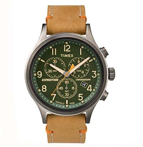 タイメックス 腕時計 メンズ TW4B04400JV Timex Expedition Scout Chronograph Leather Watch - Green Dialタイメックス 腕時計 メンズ TW4B04400JV