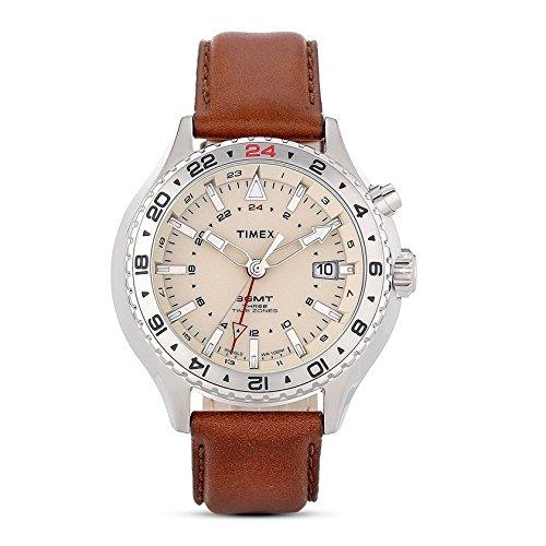 タイメックス 腕時計 メンズ T2P426 Timex Intelligent Quartz T2P426 Mens Intelligent Quartz 3GMT Brown Leather Strap Watchタイメックス 腕時計 メンズ T2P426