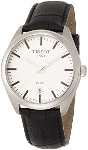 ティソ 腕時計 メンズ T1014101603100 【送料無料】Tissot Men's Stainless Steel Quartz Watch with Leather-Synthetic Strap, Silver, 18 (Model: T1014101603100)ティソ 腕時計 メンズ T1014101603100