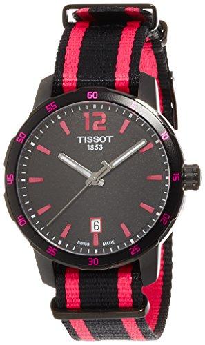 ティソ 腕時計 メンズ T0954103705701 Tissot Quickster Black Dial Black and Hot Pink Nylon Mens Watch T0954103705701ティソ 腕時計 メンズ T0954103705701